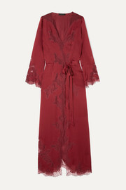 Carine Gilson Égérie Chantilly lace-trimmed silk-satin robe
