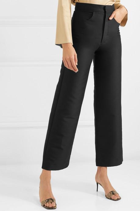 Flair cropped woven wide-leg pants