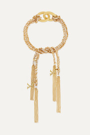 Carolina Bucci Kiss Lucky 18-karat gold, diamond and silk bracelet