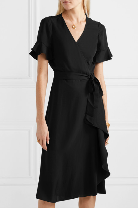 Ruffled washed-twill wrap dress