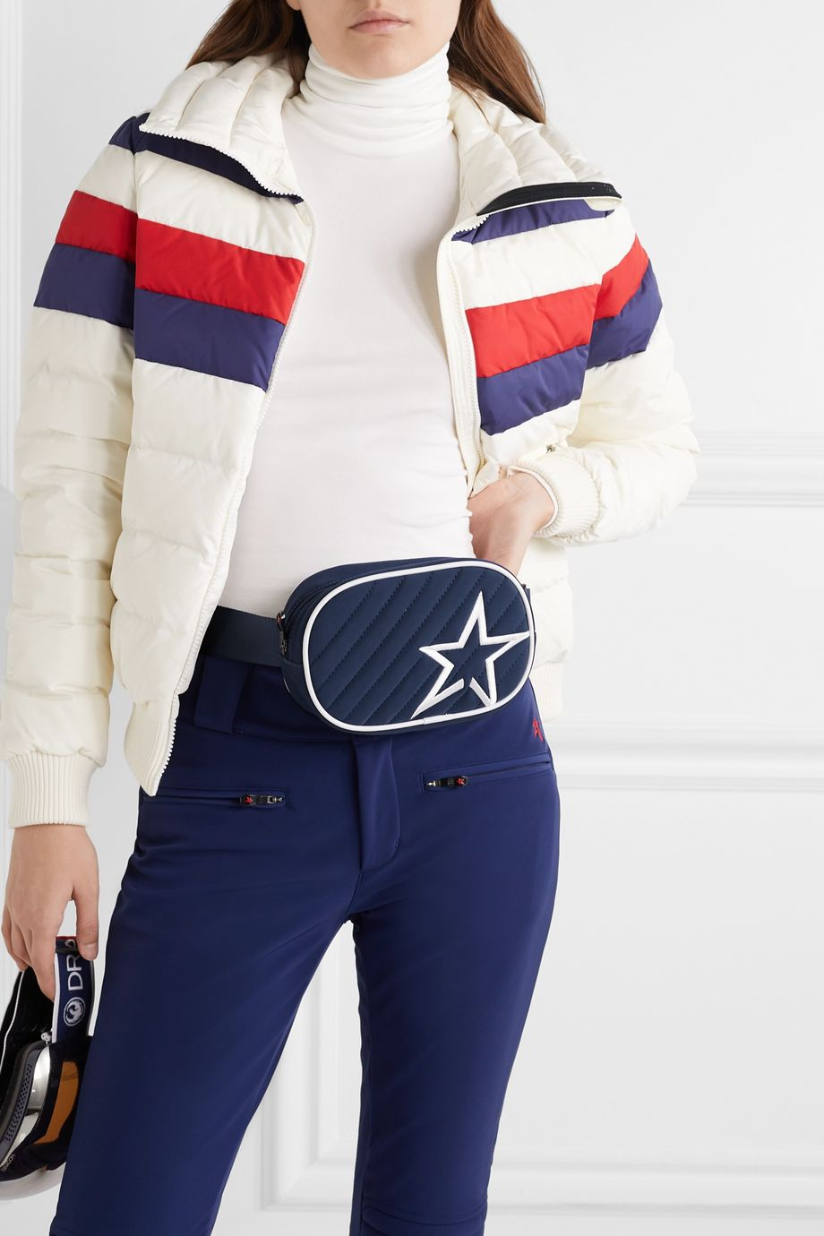 Perfect Moment Star canvas-trimmed embroidered quilted shell belt bag