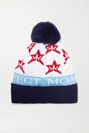 Perfect Moment Pompom-embellished merino  intarsia wool-blend beanie