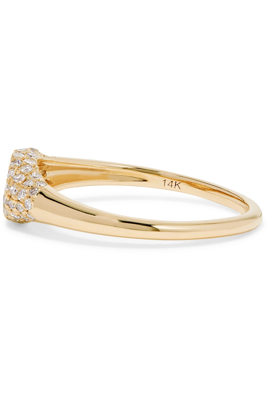 STONE AND STRAND Sparkle Mini Signet 14K 黄金钻石戒指