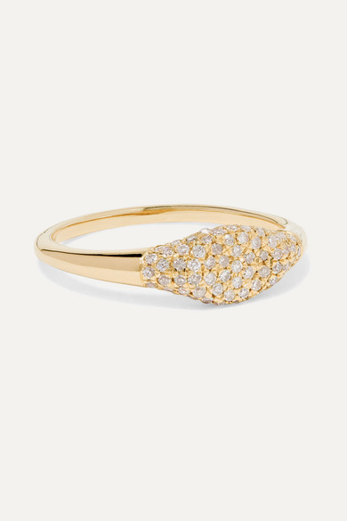 Sparkle Mini Signet 14 Karat Gold Diamond Ring by Stone And Strand