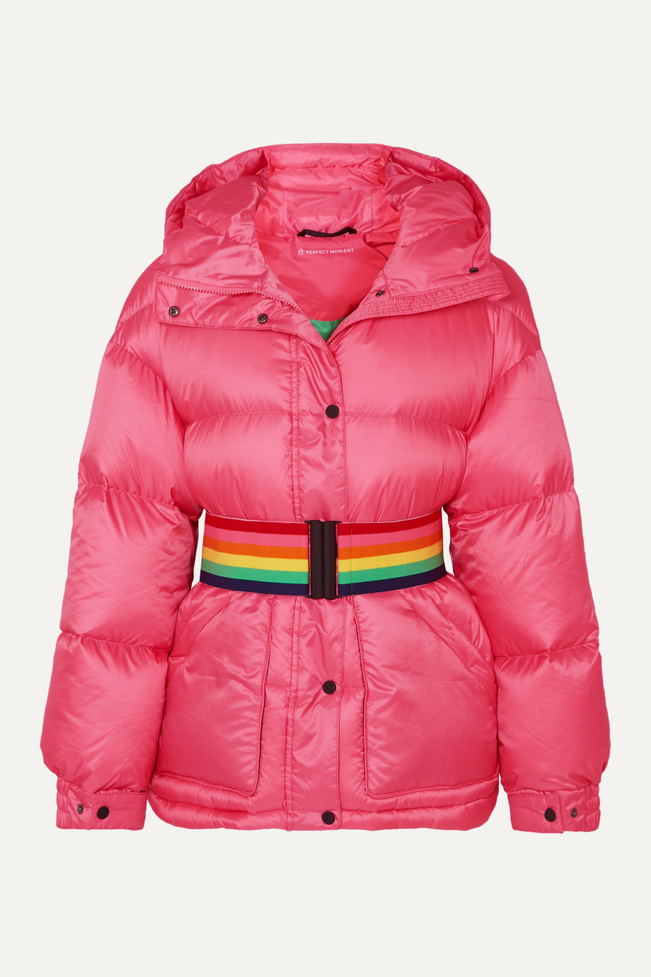 Perfect Moment Belted hooded quilted down ski jacket