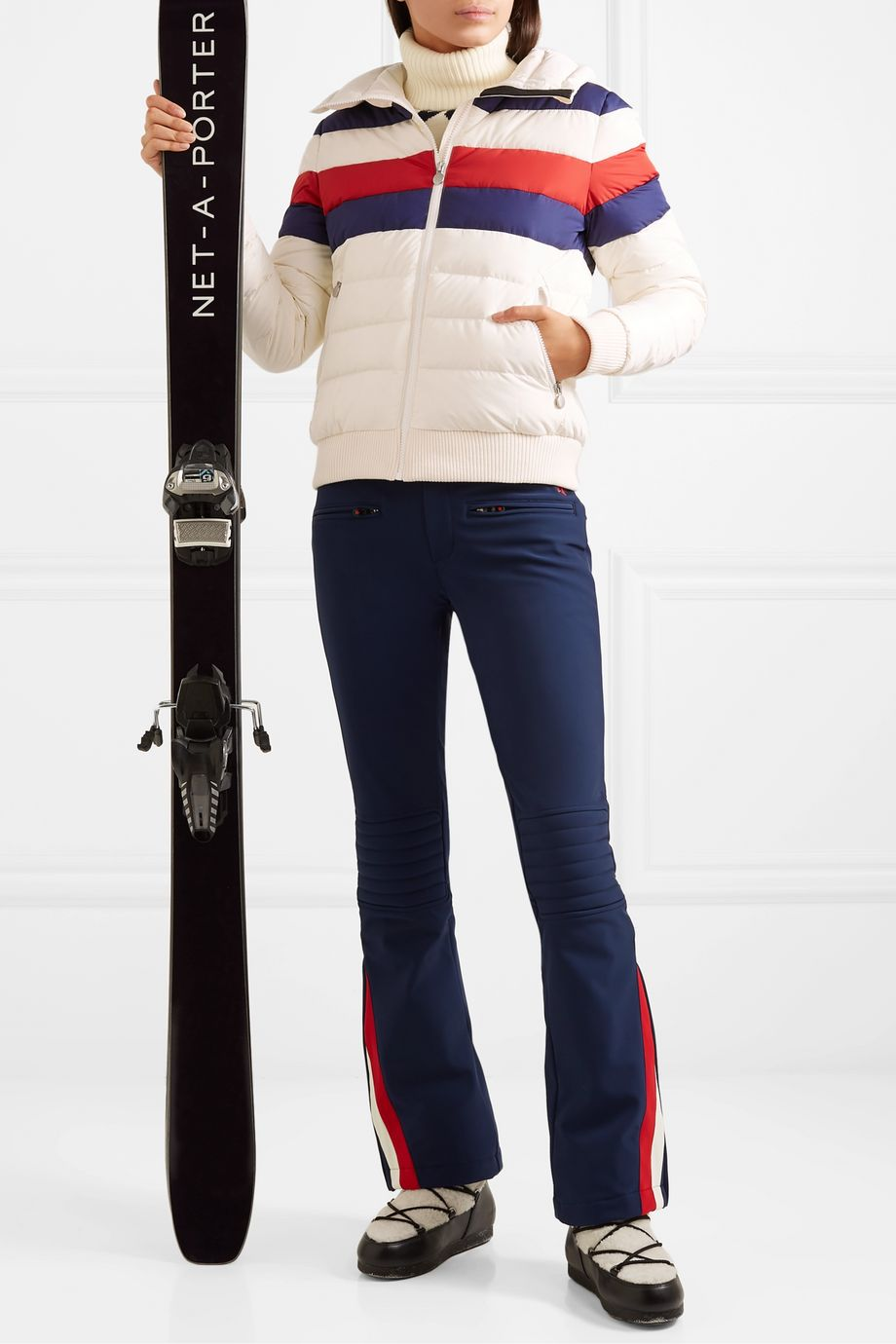 Perfect Moment Queenie merino wool-trimmed striped quilted down ski jacket