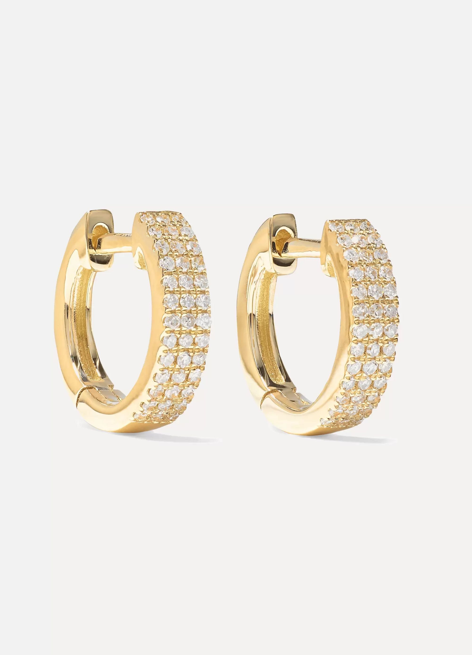 STONE AND STRAND Huggie 14-karat gold diamond earrings
