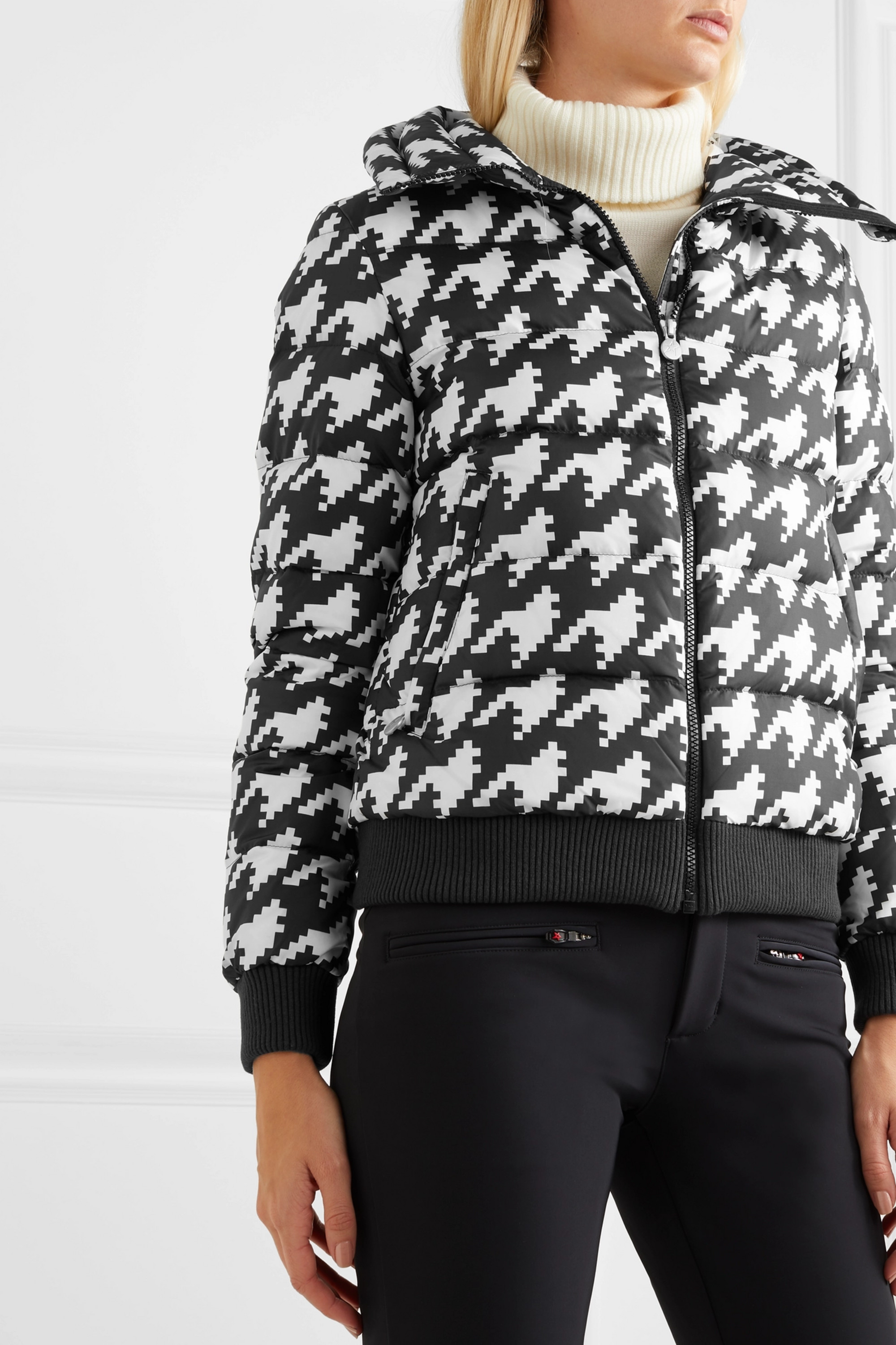 Perfect Moment Super Star hooded houndstooth quilted down ski jacket
