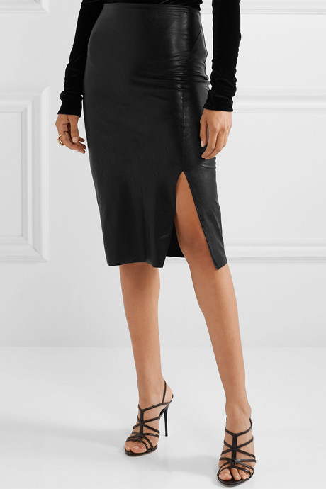 Faux stretch-leather skirt