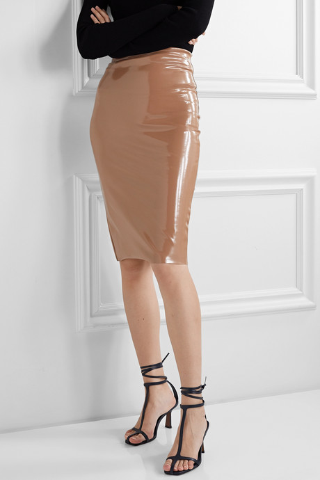Faux stretch patent-leather skirt