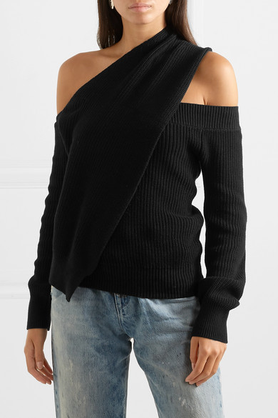 Rta Knits Juliet one-shoulder ribbed cotton sweater