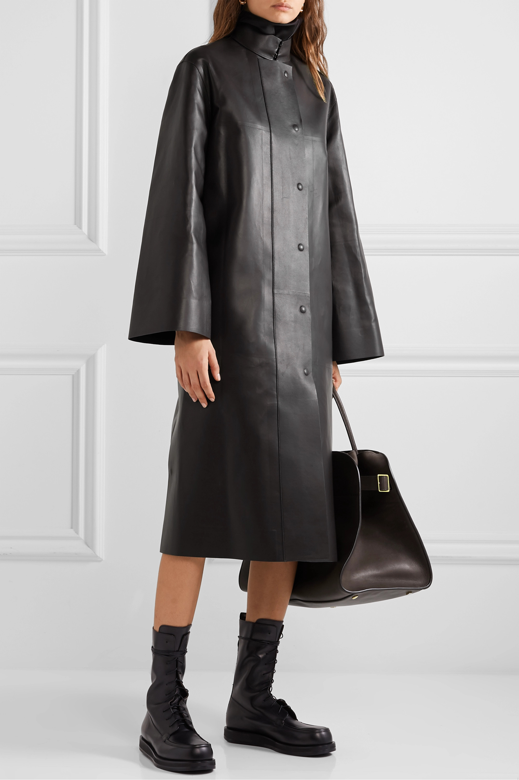 The Row Emely leather coat