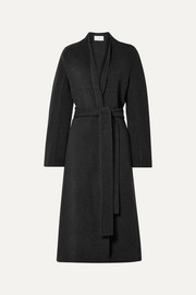 Luisa belted wool-blend coat