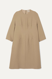 The Row Benan pintucked wool and silk-blend dress