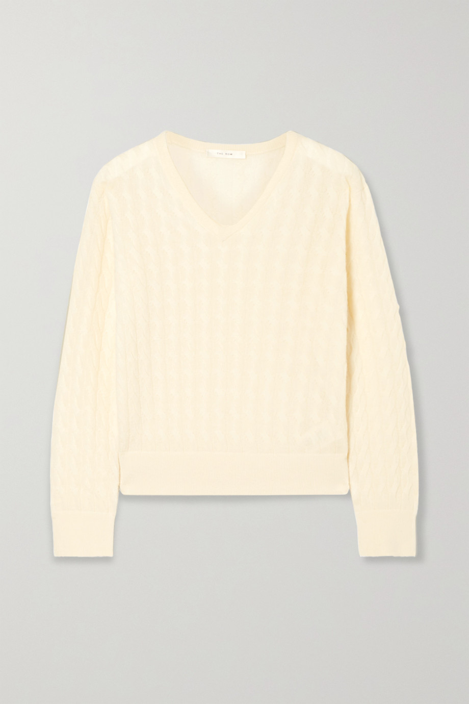 The Row Rozanna cable-knit cashmere and silk-blend sweater