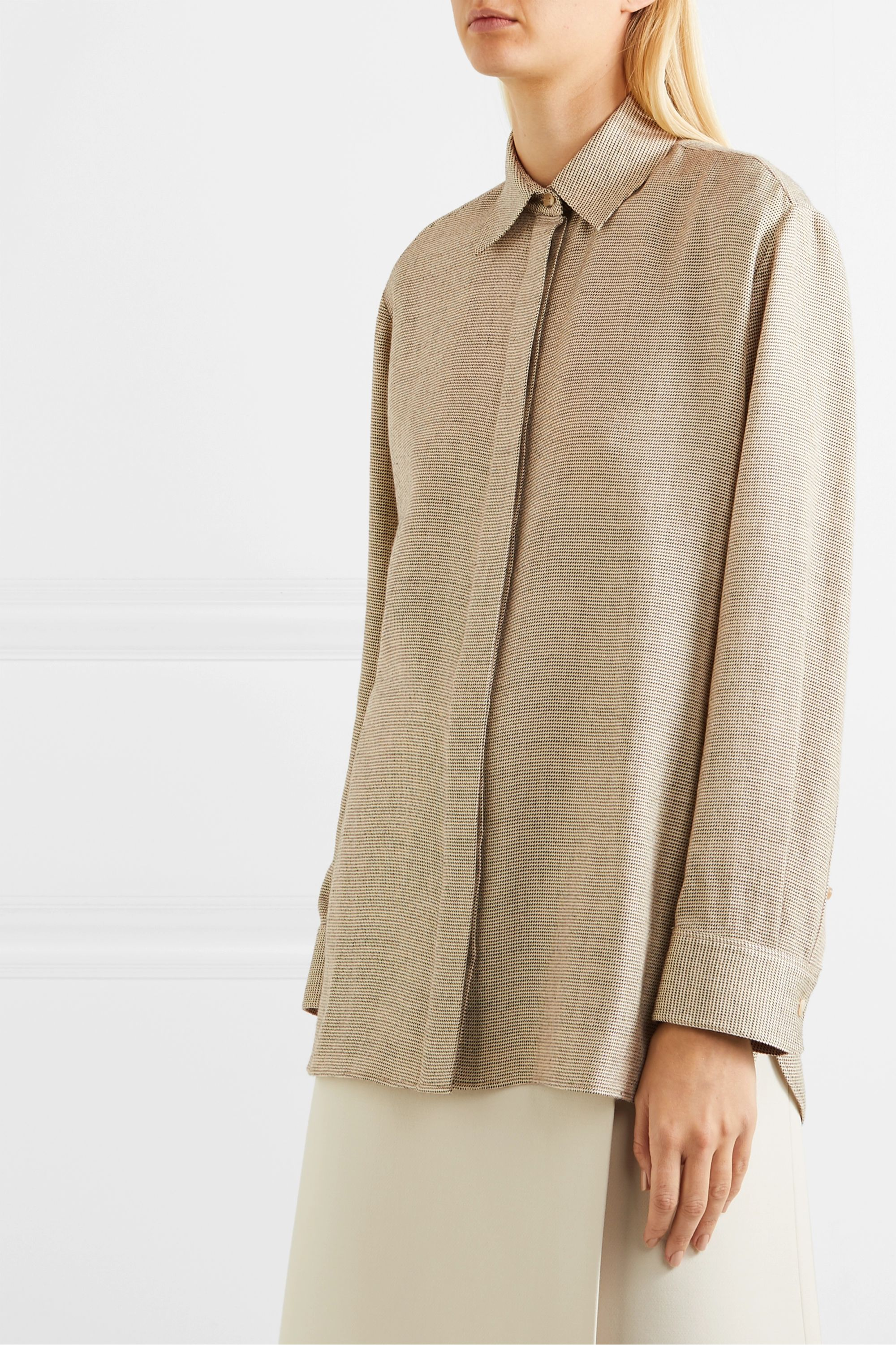The Row Big Sisea oversized wool and silk-blend blouse