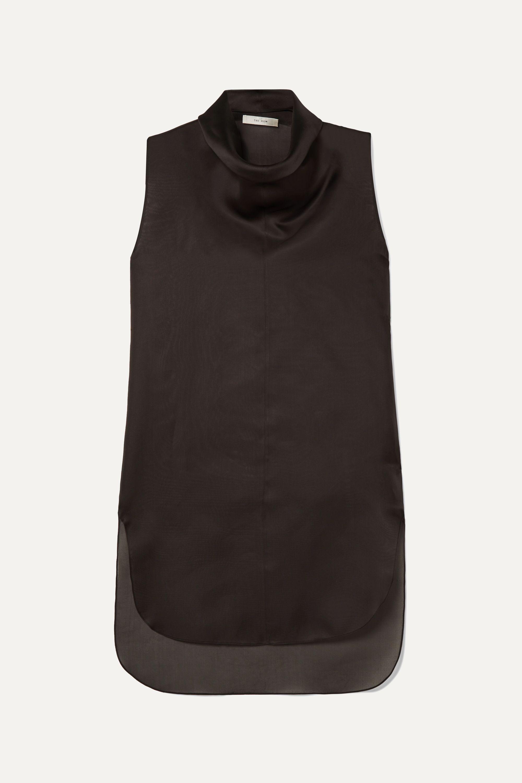 The Row Mora draped silk-organza top