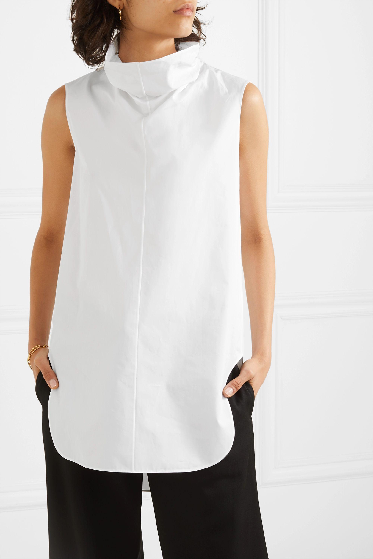 The Row Almora draped cotton-poplin top