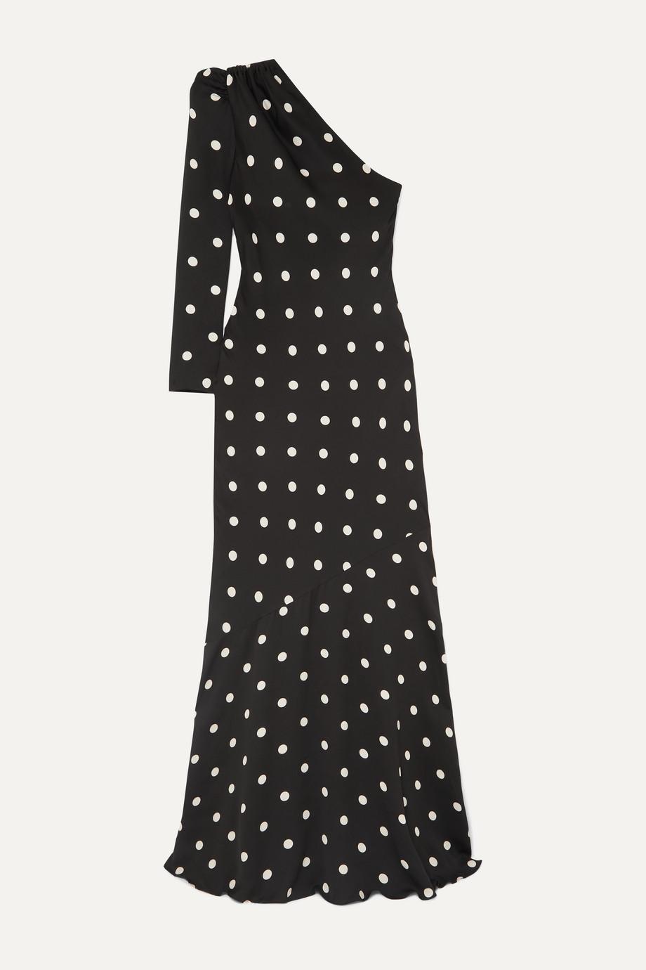 Rebecca Vallance Penelope one-shoulder polka-dot crepe maxi dress