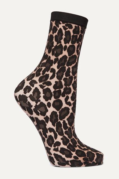 Wolford Knits Leopard-print stretch-knit socks