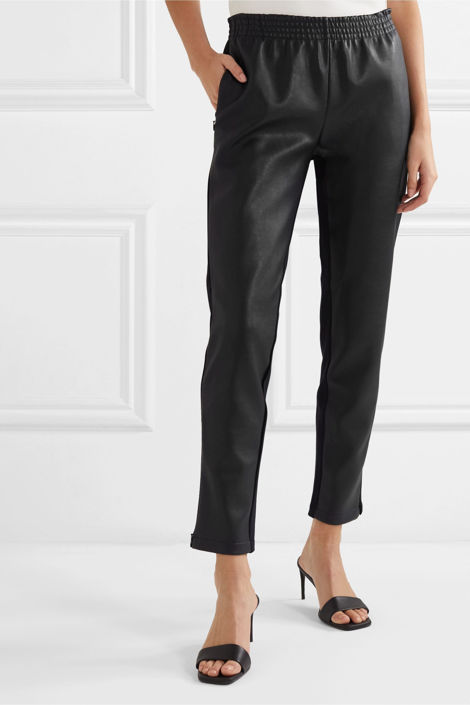 Wolford Stella paneled faux stretch-leather and jersey straight-leg pants