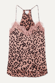 Cami NYC The Racer lace-trimmed leopard-print silk-charmeuse camisole