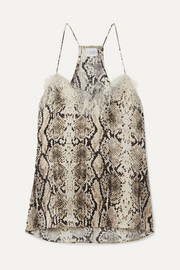 Cami NYC The Racer lace-trimmed snake-print silk-charmeuse camisole
