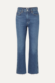 Pinch Waist cropped organic high-rise flared jeans