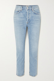 Riley cropped organic high-rise straight-leg jeans