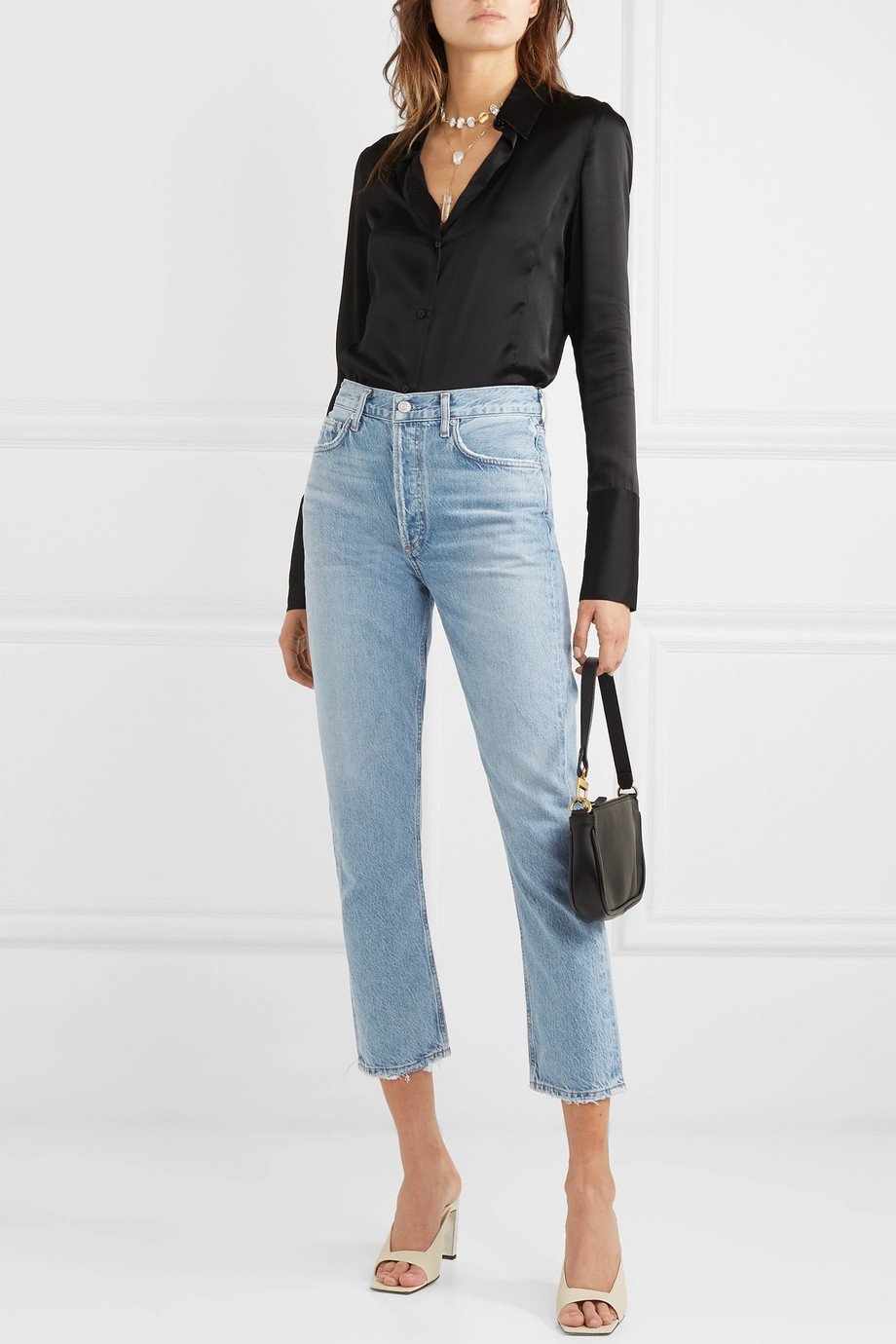 AGOLDE Riley cropped organic high-rise straight-leg jeans