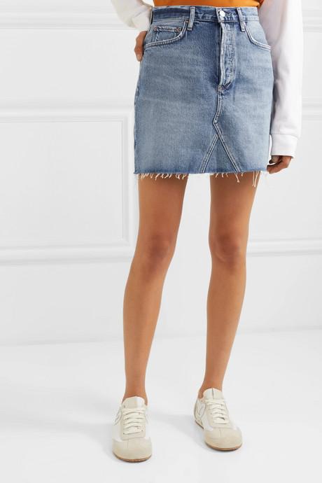 Ada distressed organic denim mini skirt
