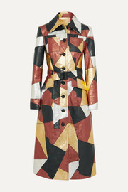 Belted patchwork metallic leather coat