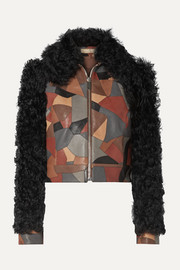 Cropped shearling-trimmed patchwork textured-leather jacket