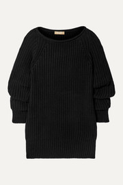 Michael Kors Collection Ruched ribbed cashmere sweater