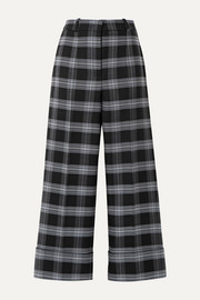 Michael Kors Collection Cropped checked wool-blend straight-leg pants