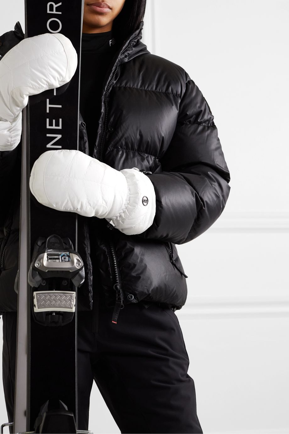 Bogner Selia padded leather and shell mittens