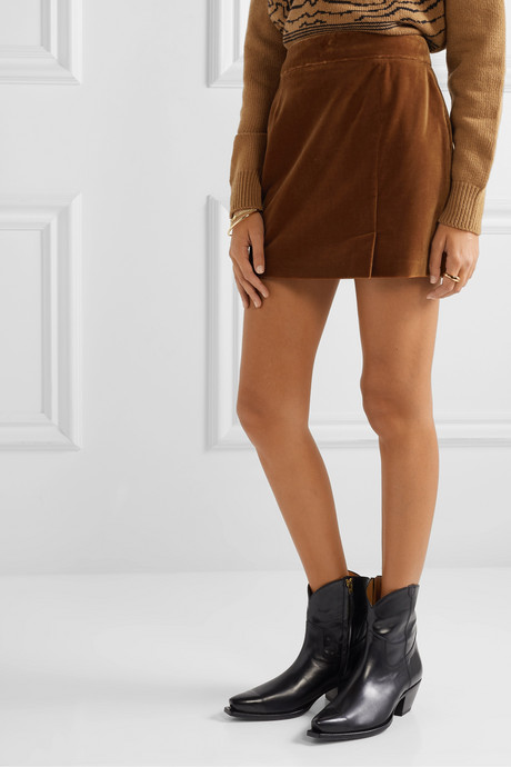 Wool-velvet mini skirt