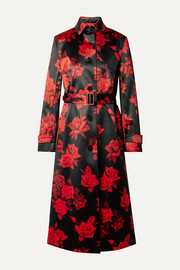 Commission Belted floral-print satin trench coat
