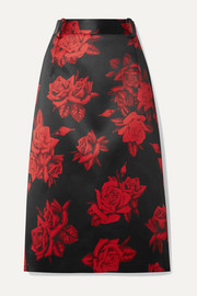 Commission Kick Back Cabin floral-print satin skirt