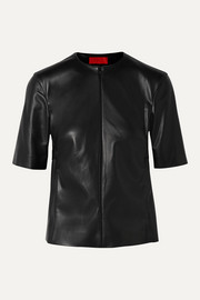 Commission Gathered faux leather top