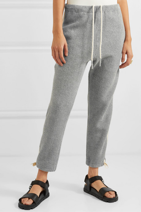 Cropped herringbone-trimmed cotton-fleece track pants