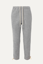 Bassike Cropped herringbone-trimmed cotton-fleece track pants