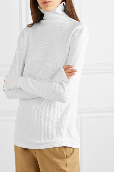 Waffle Knit Cotton Turtleneck Top by Bassike