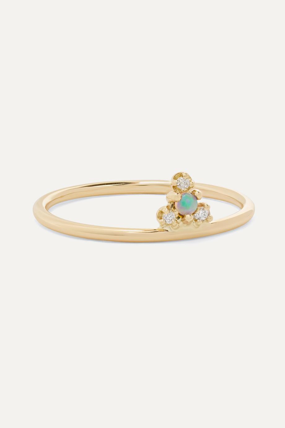 Wwake + NET SUSTAIN Burst gold, opal and diamond ring