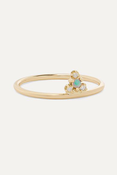 + Net Sustain Burst Gold, Opal And Diamond Ring by Wwake