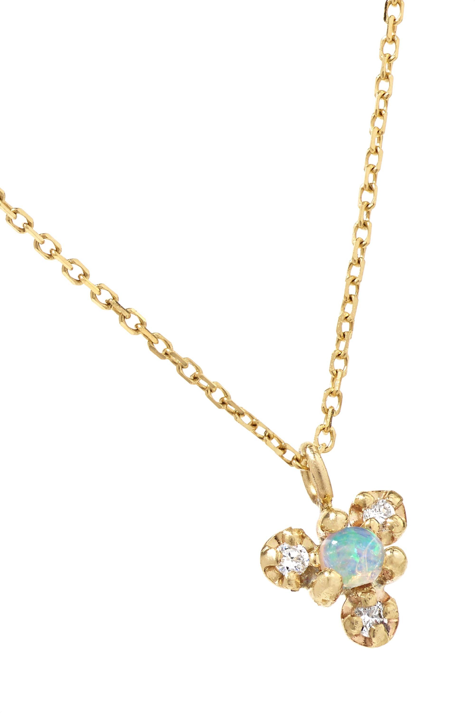 Wwake + NET SUSTAIN Burst gold, opal and diamond necklace