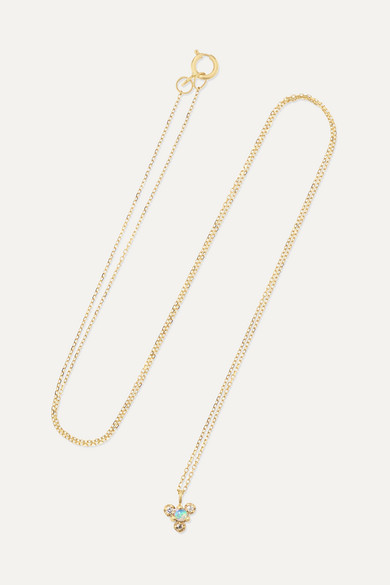 + Net Sustain Burst Gold, Opal And Diamond Necklace by Wwake