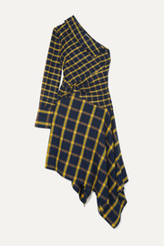Monse Asymmetric one-shoulder ruffled checked brushed-cotton dress