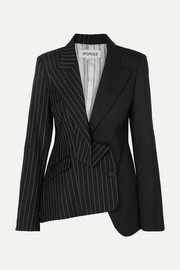 Monse Asymmetric paneled pinstriped wool blazer