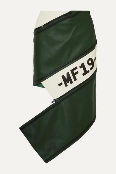 Asymmetric zip-detailed paneled leather skirt